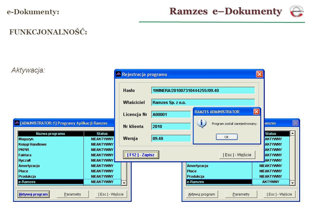 Aktywacja: Ramzes e–Dokumenty e-Dokumenty: FUNKCJONALNOŚĆ: