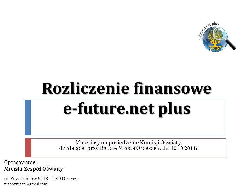 e-future.net plus Poddziałanie 9.1.2 – Wyrównywanie szans edukacyjnych uczniów z grup o utrudnionym dostępie do edukacji oraz zmniejszanie różnic w jakości usług edukacyjnych Działanie 9.1: Wyrównywanie szans edukacyjnych i zapewnienie wysokiej jakości usług edukacyjnych świadczonych w systemie oświaty Priorytet IX: Rozwój wykształcenia i kompetencji w regionach PROGRAM OPERACYJNY KAPITAŁ LUDZKI 2007 – 2013 Finansowanie projektu: UNIA EUROPEJSKA w ramach EUROPEJSKIEGO FUNDUSZU SPOŁECZNEGO 2