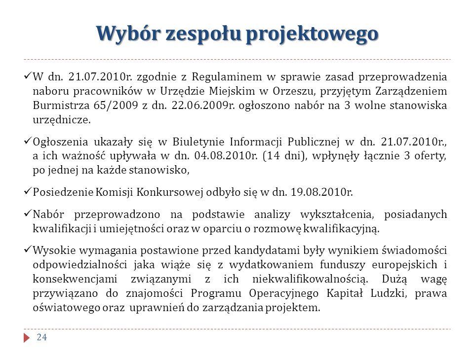 Wybór zespołu projektowego W dn. 21.07.2010r. zgodnie z Regulaminem w sprawie zasad przeprowadzenia naboru pracowników w Urzędzie Miejskim w Orzeszu,