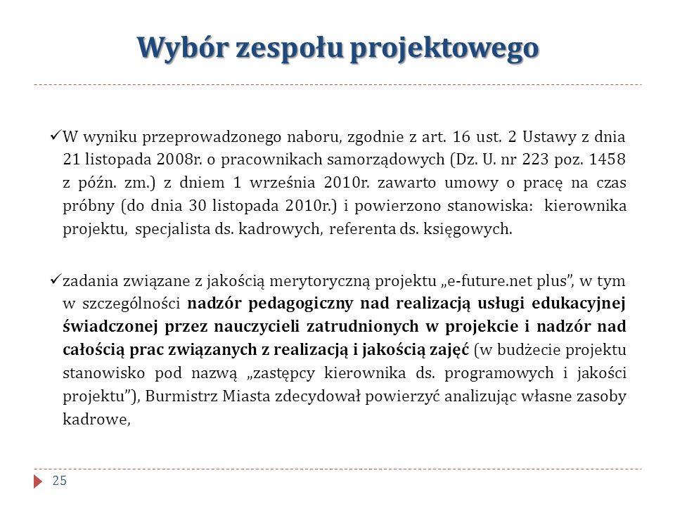 Wybór zespołu projektowego W wyniku przeprowadzonego naboru, zgodnie z art. 16 ust. 2 Ustawy z dnia 21 listopada 2008r. o pracownikach samorządowych (