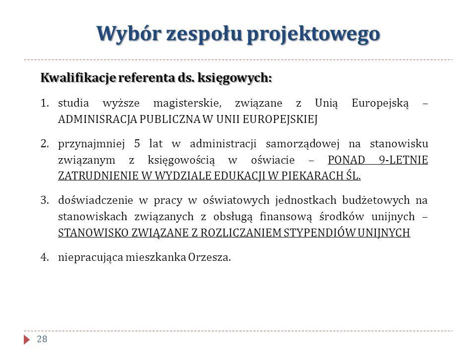 Wybór zespołu projektowego Kwalifikacje referenta ds. księgowych: 1.studia wyższe magisterskie, związane z Unią Europejską – ADMINISRACJA PUBLICZNA W