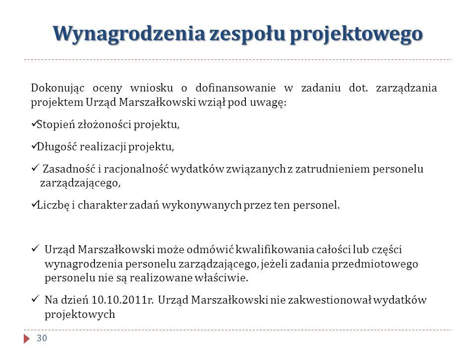 Wynagrodzenia zespołu projektowego Dokonując oceny wniosku o dofinansowanie w zadaniu dot. zarządzania projektem Urząd Marszałkowski wziął pod uwagę: