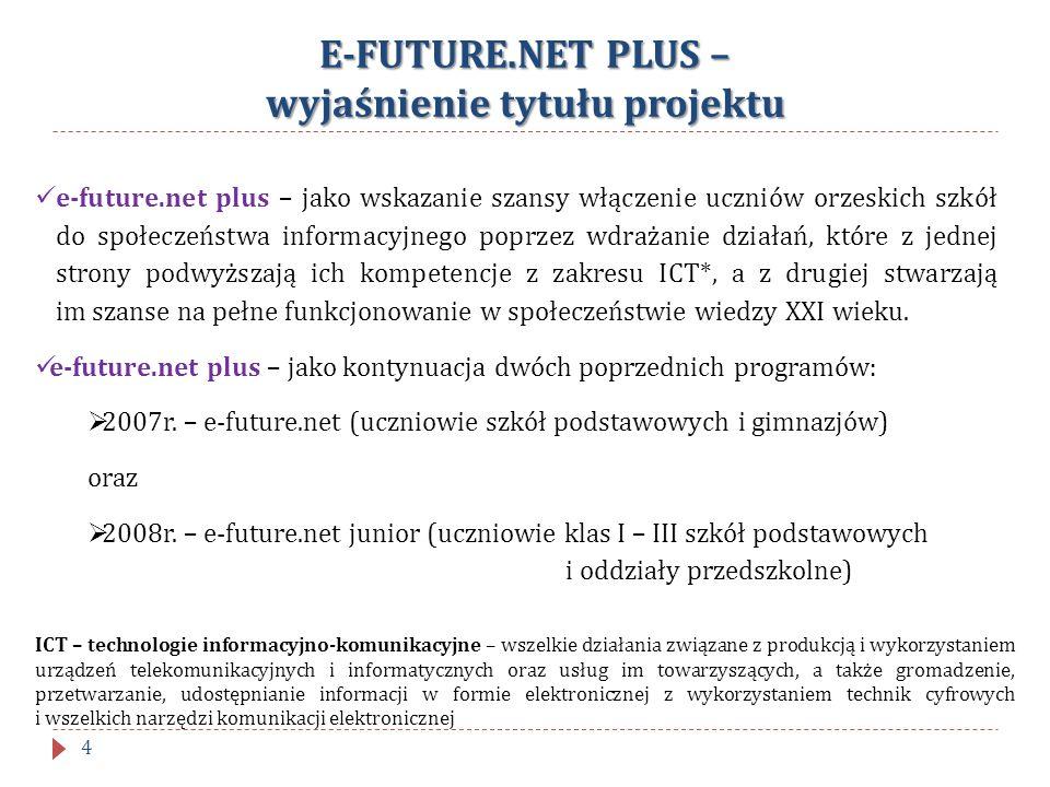 E-FUTURE.NET PLUS – wyjaśnienie tytułu projektu e-future.net plus – jako wskazanie szansy włączenie uczniów orzeskich szkół do społeczeństwa informacy