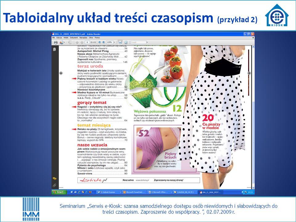 Seminarium Serwis e-Kiosk: szansa samodzielnego dostępu osób niewidomych i słabowidzących do treści czasopism.