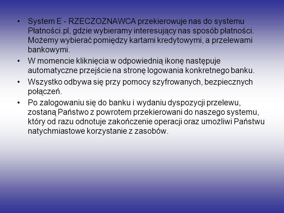 System E - RZECZOZNAWCA przekierowuje nas do systemu Płatności.pl, gdzie wybieramy interesujący nas sposób płatności. Możemy wybierać pomiędzy kartami