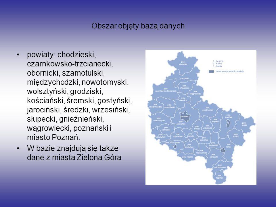 Obszar objęty bazą danych powiaty: chodzieski, czarnkowsko-trzcianecki, obornicki, szamotulski, międzychodzki, nowotomyski, wolsztyński, grodziski, ko