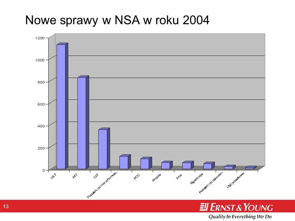 13 Nowe sprawy w NSA w roku 2004