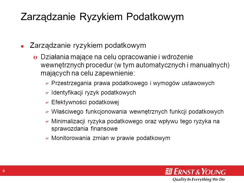 4 Zarządzanie Ryzykiem Podatkowym n Zarządzanie ryzykiem podatkowym Þ Działania mające na celu opracowanie i wdrożenie wewnętrznych procedur (w tym au