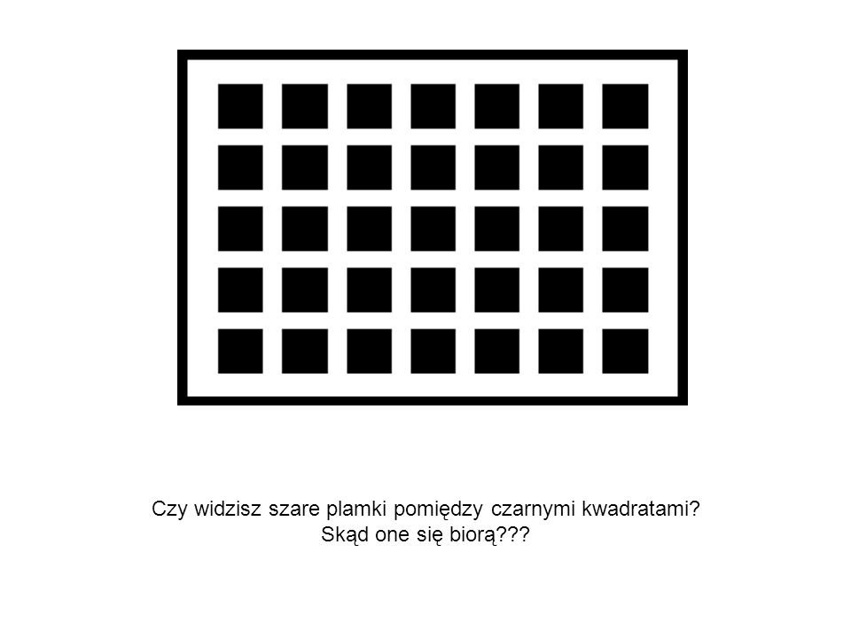 Czy widzisz szare plamki pomiędzy czarnymi kwadratami? Skąd one się biorą???