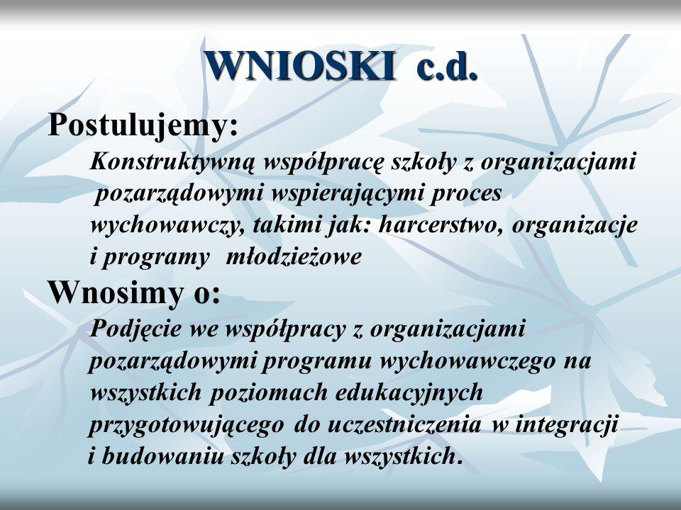 WNIOSKI c.d. Postulujemy: Konstruktywną współpracę szkoły z organizacjami pozarządowymi wspierającymi proces wychowawczy, takimi jak: harcerstwo, orga