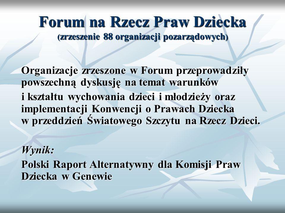 Forum na Rzecz Praw Dziecka ( zrzeszenie 88 organizacji pozarządowych ) Organizacje zrzeszone w Forum przeprowadziły powszechną dyskusję na temat waru