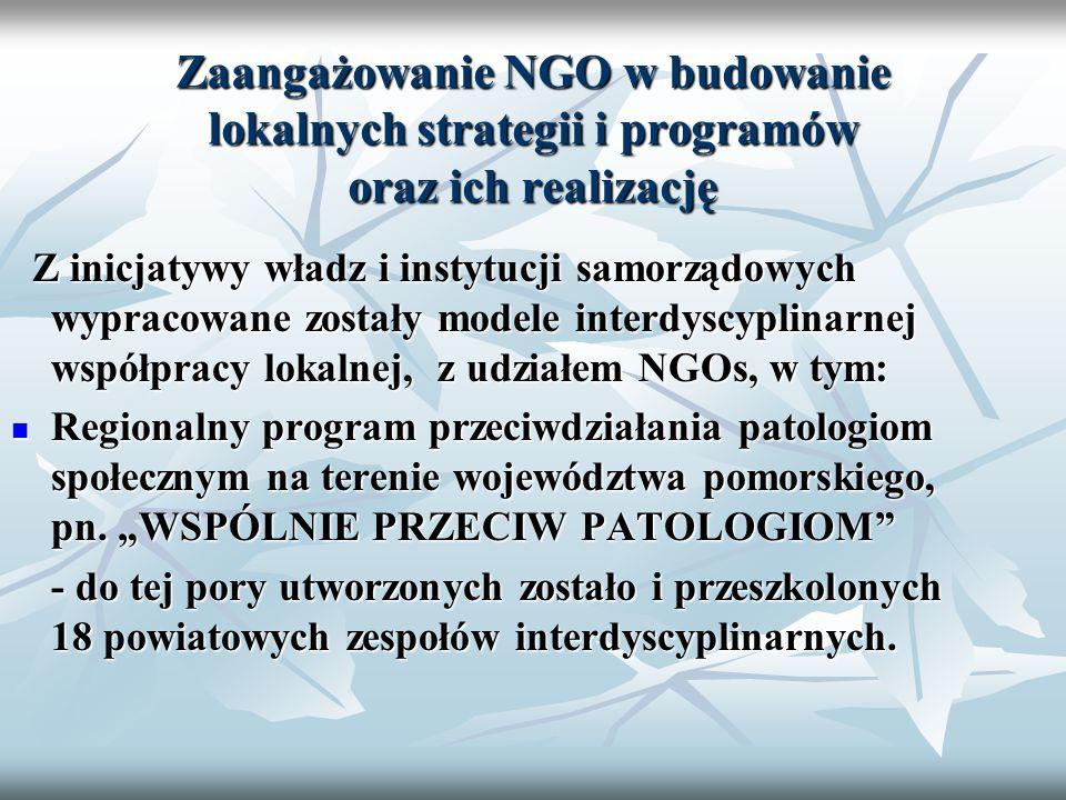 Z inicjatywy władz i instytucji samorządowych wypracowane zostały modele interdyscyplinarnej współpracy lokalnej, z udziałem NGOs, w tym: Z inicjatywy władz i instytucji samorządowych wypracowane zostały modele interdyscyplinarnej współpracy lokalnej, z udziałem NGOs, w tym: Regionalny program przeciwdziałania patologiom społecznym na terenie województwa pomorskiego, pn.