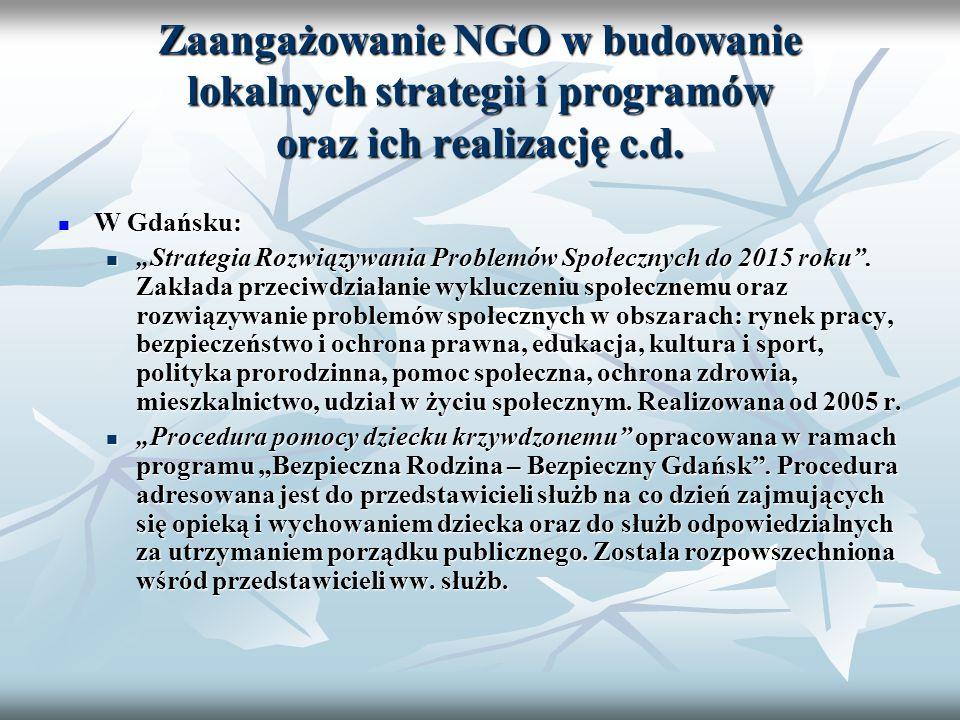 Zaangażowanie NGO w budowanie lokalnych strategii i programów oraz ich realizację c.d. W Gdańsku: W Gdańsku: Strategia Rozwiązywania Problemów Społecz