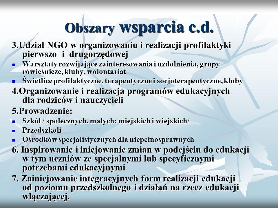Obszary wsparcia c.d. 3.Udział NGO w organizowaniu i realizacji profilaktyki pierwszo i drugorzędowej Warsztaty rozwijające zainteresowania i uzdolnie