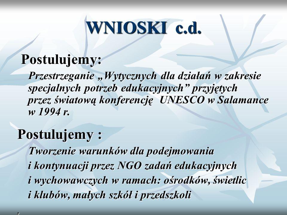 WNIOSKI c.d. Postulujemy: Postulujemy: Przestrzeganie Wytycznych dla działań w zakresie specjalnych potrzeb edukacyjnych przyjętych przez światową kon