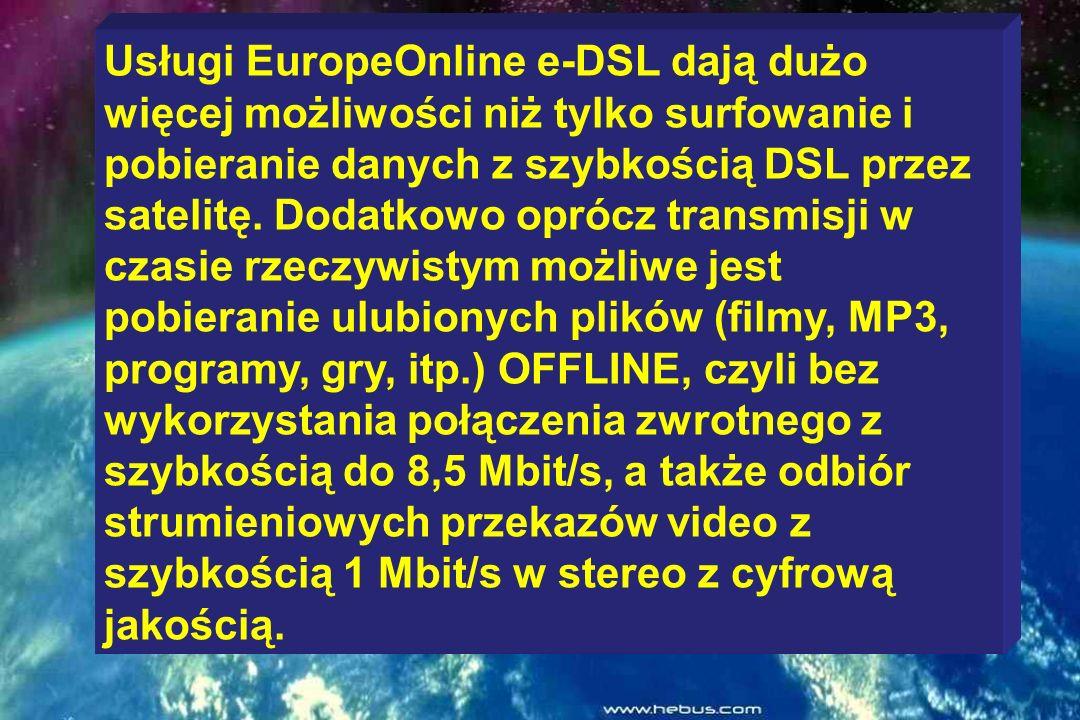 Usługi satelitarnego dostępu do internetu EuropeOnline-DSL dostępne są za pośrednictwem satelity Eutelsat na terenie całej Europy, Północnej Afryki, B