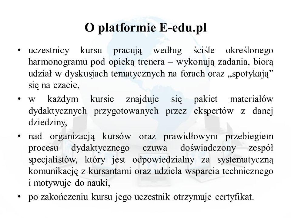 O platformie E-edu.pl uczestnicy kursu pracują według ściśle określonego harmonogramu pod opieką trenera – wykonują zadania, biorą udział w dyskusjach