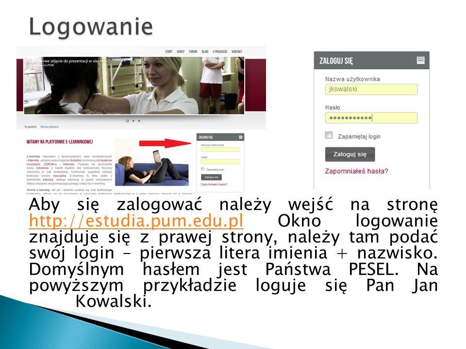 Aby się zalogować należy wejść na stronę http://estudia.pum.edu.pl Okno logowanie znajduje się z prawej strony, należy tam podać swój login – pierwsza