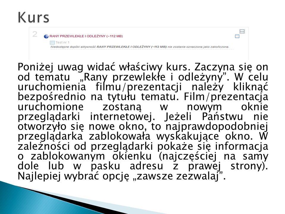 W celu uruchomienia filmu należy kliknąć na guzik play widoczny na środku ekranu.