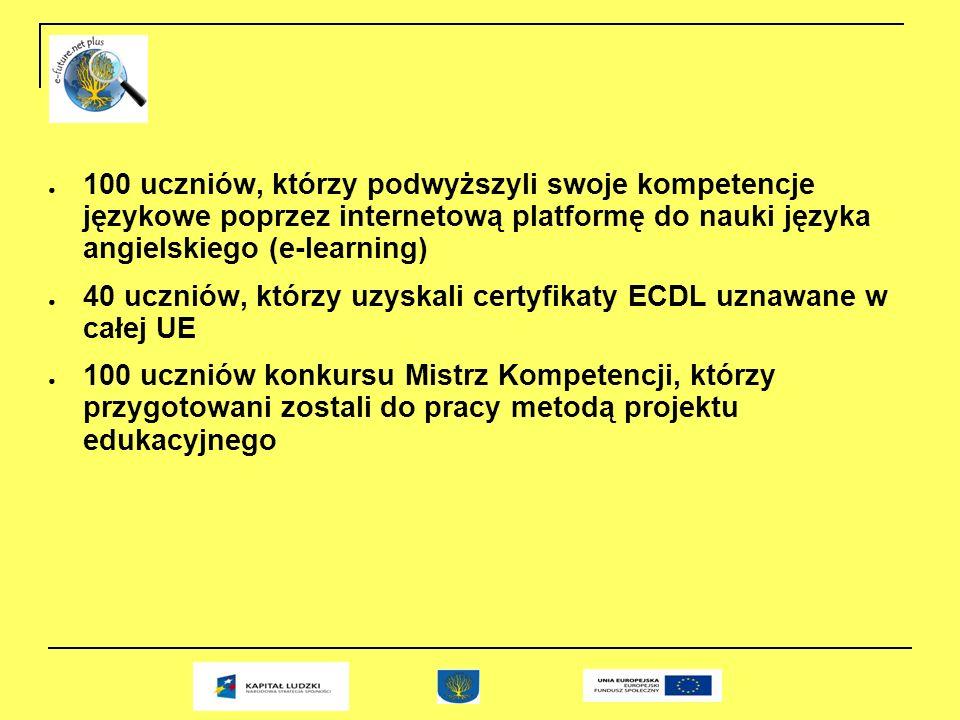 100 uczniów, którzy podwyższyli swoje kompetencje językowe poprzez internetową platformę do nauki języka angielskiego (e-learning) 40 uczniów, którzy uzyskali certyfikaty ECDL uznawane w całej UE 100 uczniów konkursu Mistrz Kompetencji, którzy przygotowani zostali do pracy metodą projektu edukacyjnego