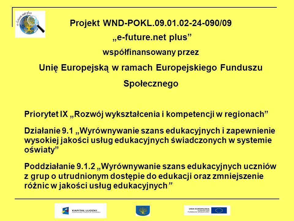 Projekt WND-POKL.09.01.02-24-090/09 e-future.net plus współfinansowany przez Unię Europejską w ramach Europejskiego Funduszu Społecznego Priorytet IX Rozwój wykształcenia i kompetencji w regionach Działanie 9.1 Wyrównywanie szans edukacyjnych i zapewnienie wysokiej jakości usług edukacyjnych świadczonych w systemie oświaty Poddziałanie 9.1.2 Wyrównywanie szans edukacyjnych uczniów z grup o utrudnionym dostępie do edukacji oraz zmniejszenie różnic w jakości usług edukacyjnych