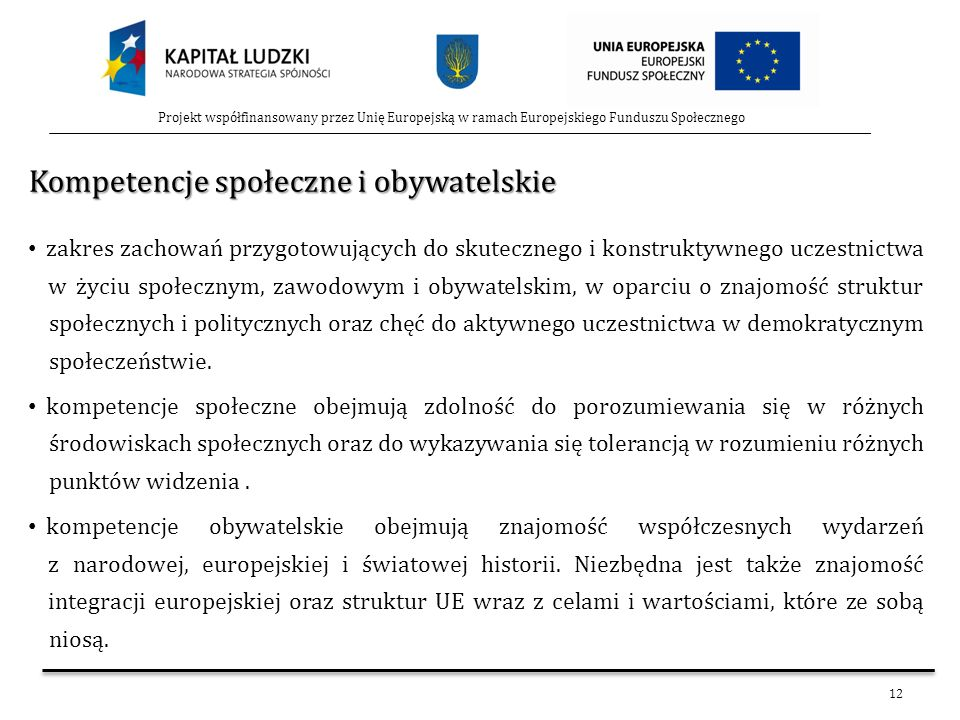 12 Projekt współfinansowany przez Unię Europejską w ramach Europejskiego Funduszu Społecznego Kompetencje społeczne i obywatelskie zakres zachowań prz