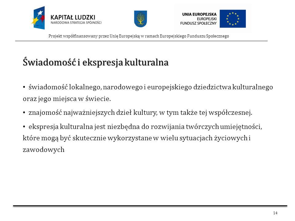 14 Projekt współfinansowany przez Unię Europejską w ramach Europejskiego Funduszu Społecznego Świadomość i ekspresja kulturalna świadomość lokalnego,