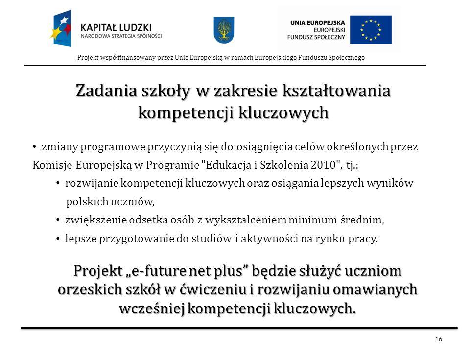 16 Projekt współfinansowany przez Unię Europejską w ramach Europejskiego Funduszu Społecznego Zadania szkoły w zakresie kształtowania kompetencji kluc