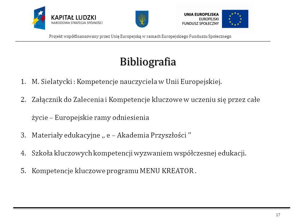 17 Projekt współfinansowany przez Unię Europejską w ramach Europejskiego Funduszu Społecznego Bibliografia 1.M. Sielatycki : Kompetencje nauczyciela w