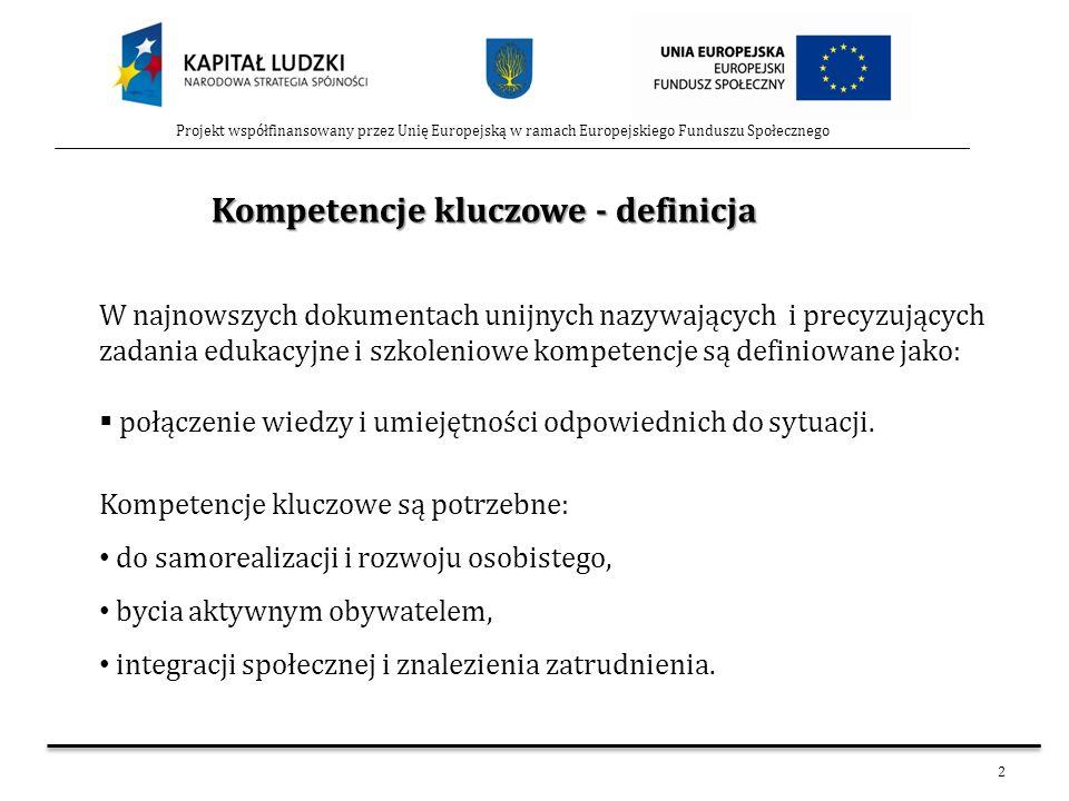 2 Projekt współfinansowany przez Unię Europejską w ramach Europejskiego Funduszu Społecznego W najnowszych dokumentach unijnych nazywających i precyzu