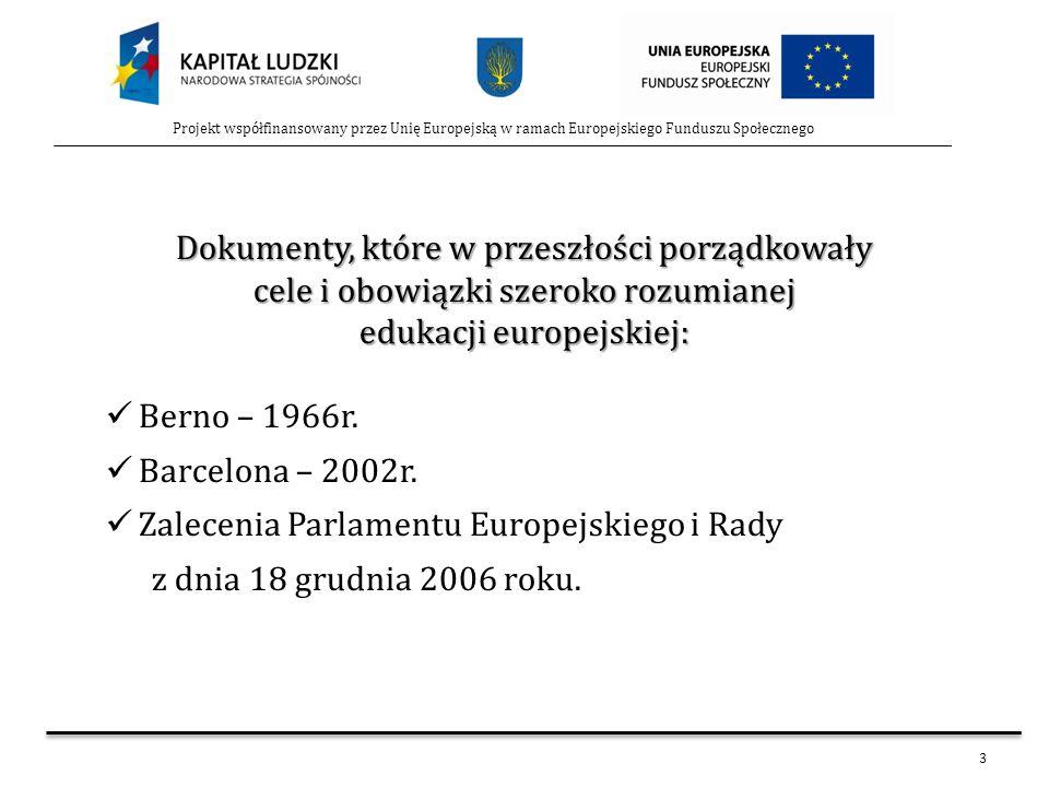 3 Projekt współfinansowany przez Unię Europejską w ramach Europejskiego Funduszu Społecznego Dokumenty, które w przeszłości porządkowały cele i obowią