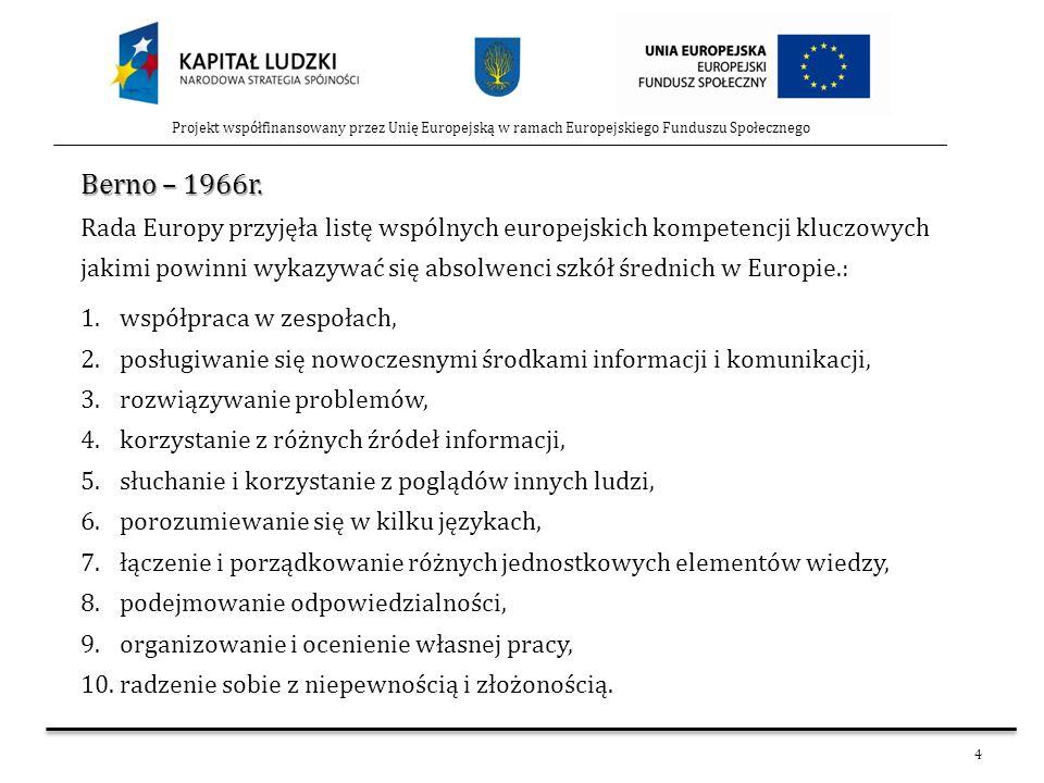 4 Projekt współfinansowany przez Unię Europejską w ramach Europejskiego Funduszu Społecznego Berno – 1966r. Rada Europy przyjęła listę wspólnych europ