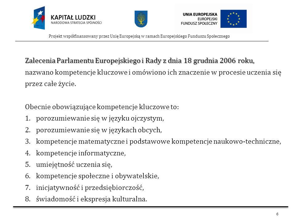 6 Projekt współfinansowany przez Unię Europejską w ramach Europejskiego Funduszu Społecznego Zalecenia Parlamentu Europejskiego i Rady z dnia 18 grudn