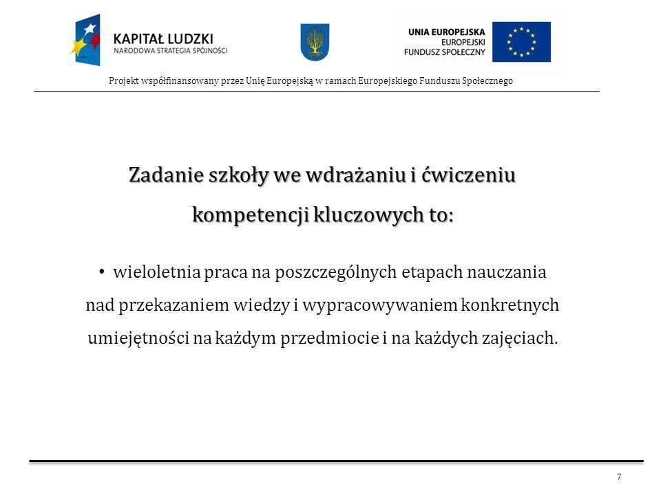 7 Projekt współfinansowany przez Unię Europejską w ramach Europejskiego Funduszu Społecznego Zadanie szkoły we wdrażaniu i ćwiczeniu kompetencji klucz