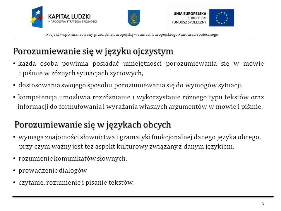 8 Projekt współfinansowany przez Unię Europejską w ramach Europejskiego Funduszu Społecznego Porozumiewanie się w języku ojczystym Porozumiewanie się