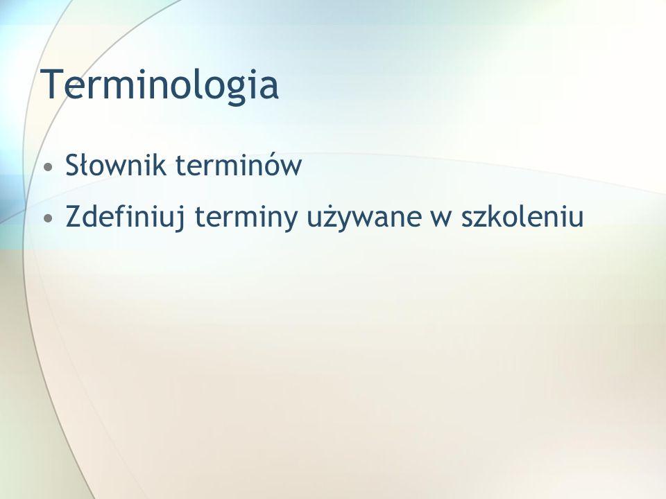 Terminologia Słownik terminów Zdefiniuj terminy używane w szkoleniu Utwórz kopię tego slajdu. Kopię umieść zaraz po tym slajdzie i zmień tytuł na skop