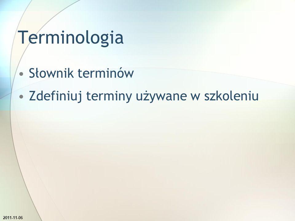 Terminologia Słownik terminów Zdefiniuj terminy używane w szkoleniu Ustaw aby data pokazywana w stopce automatycznie się aktualizowała.