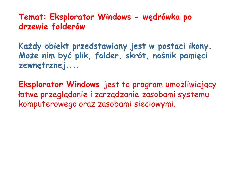 Temat: Eksplorator Windows - wędrówka po drzewie folderów Każdy obiekt przedstawiany jest w postaci ikony. Może nim być plik, folder, skrót, nośnik pa