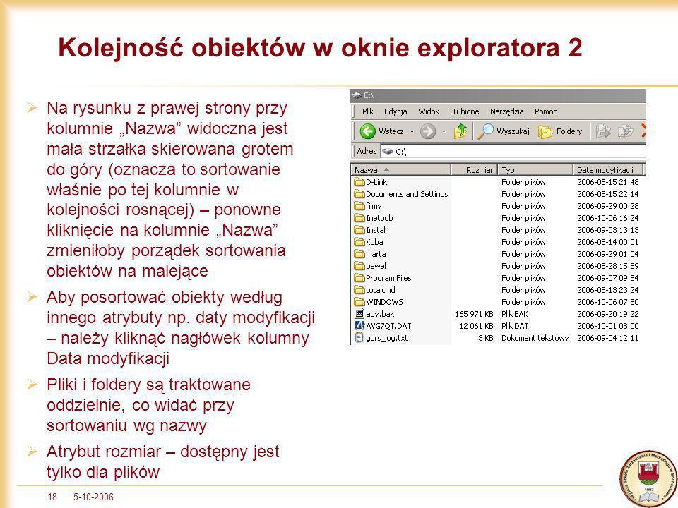5-10-200618 Kolejność obiektów w oknie exploratora 2 Na rysunku z prawej strony przy kolumnie Nazwa widoczna jest mała strzałka skierowana grotem do g
