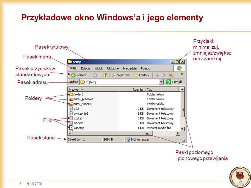 5-10-20063 Przykładowe okno Windowsa i jego elementy Pasek tytułowy Pasek menu Pasek przycisków standardowych Pasek adresu Foldery Pliki Pasek stanu P