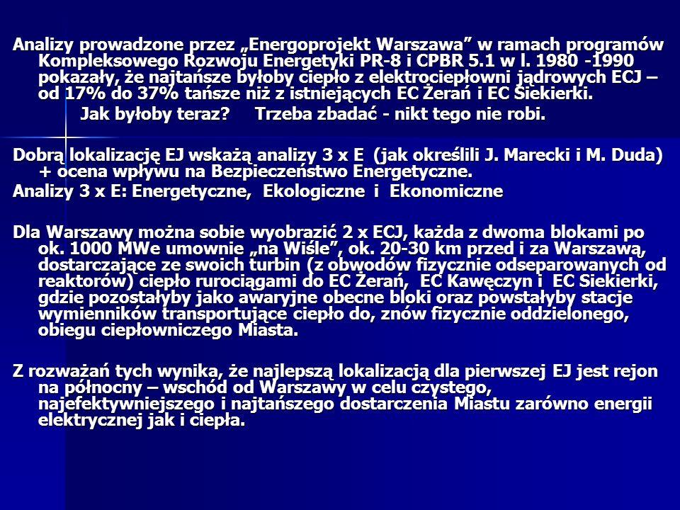 Analizy prowadzone przez Energoprojekt Warszawa w ramach programów Kompleksowego Rozwoju Energetyki PR-8 i CPBR 5.1 w l.