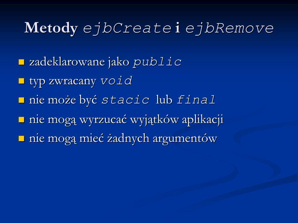 Metody ejbCreate i ejbRemove zadeklarowane jako public zadeklarowane jako public typ zwracany void typ zwracany void nie może być stacic lub final nie