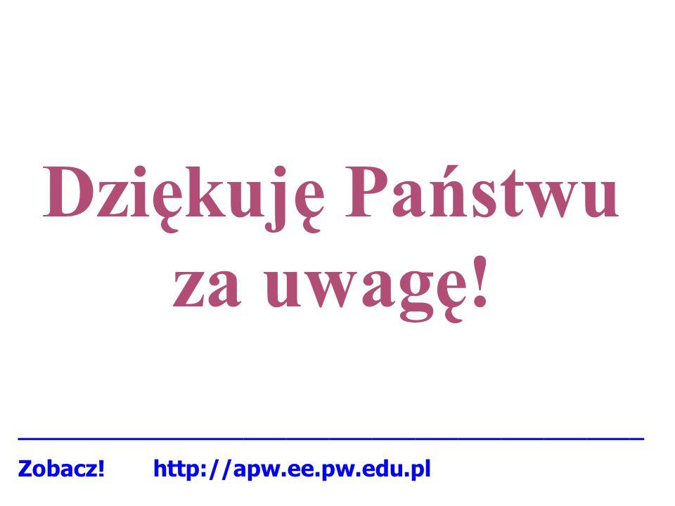 Dziękuję Państwu za uwagę! ____________________________________________ Zobacz! http://apw.ee.pw.edu.pl