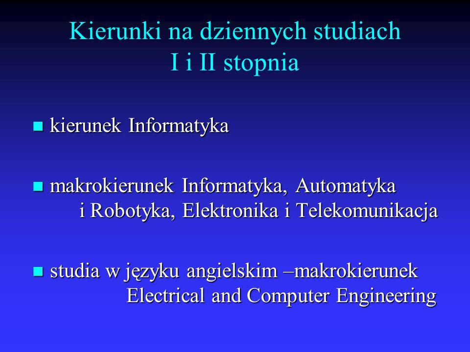 Kierunki na dziennych studiach I i II stopnia kierunek Informatyka kierunek Informatyka makrokierunek Informatyka, Automatyka i Robotyka, Elektronika