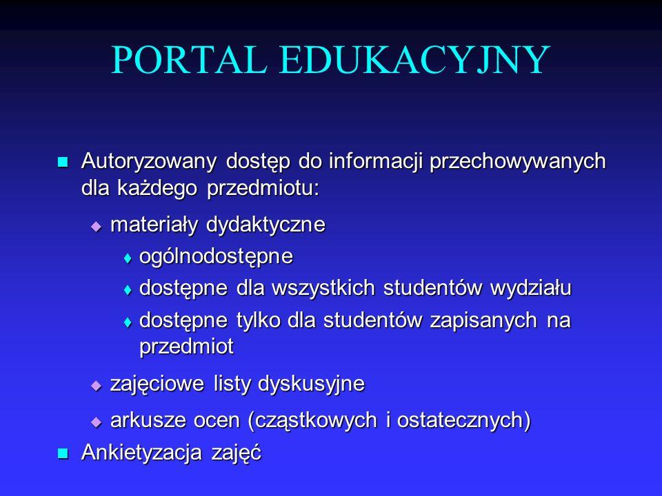 PORTAL EDUKACYJNY Autoryzowany dostęp do informacji przechowywanych dla każdego przedmiotu: Autoryzowany dostęp do informacji przechowywanych dla każd