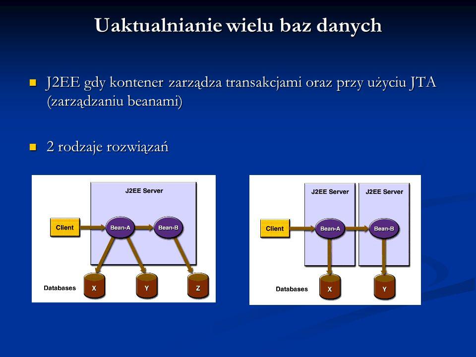 Uaktualnianie wielu baz danych J2EE gdy kontener zarządza transakcjami oraz przy użyciu JTA (zarządzaniu beanami) J2EE gdy kontener zarządza transakcj
