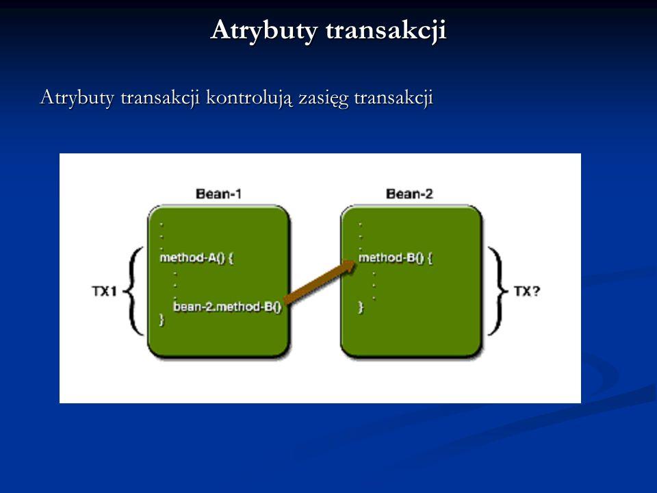 Atrybuty transakcji mogą mieć wartość: Required Required RequiresNew RequiresNew Mandatory Mandatory NotSupported NotSupported Supports Supports Never Never Atrybuty transakcji można zmieniać podczas wielu faz rozwijania aplikacji (umieszczone w deployment descriptor)
