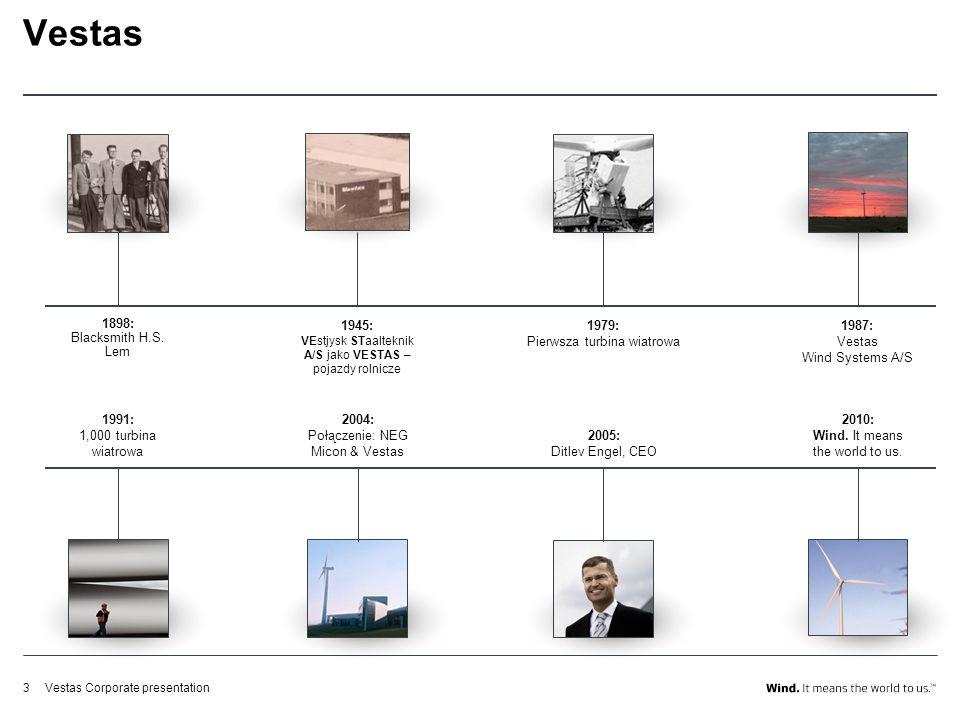 Vestas Corporate presentation3 Vestas 1898: Blacksmith H.S. Lem 1945: VEstjysk STaalteknik A/S jako VESTAS – pojazdy rolnicze 1979: Pierwsza turbina w