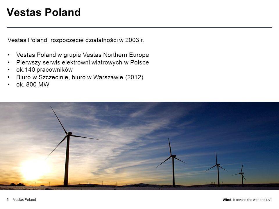 Vestas Poland5 Vestas Poland rozpoczęcie działalności w 2003 r. Vestas Poland w grupie Vestas Northern Europe Pierwszy serwis elektrowni wiatrowych w