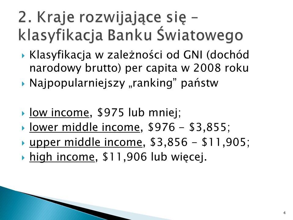 Klasyfikacja w zależności od GNI (dochód narodowy brutto) per capita w 2008 roku Najpopularniejszy ranking państw low income, $975 lub mniej; lower mi